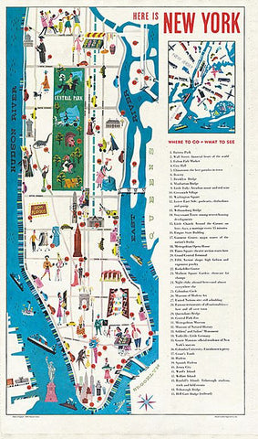 A tea towel that depicts a colorful map of Manhattan Island with small cartoon images of New Yorkers ,a list of where to go, what to see, and there are images of important locations such as the Empire State Building, Central Park, and the Statue of Liberty.