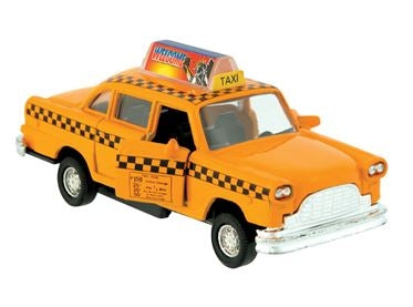 An old style metal yellow cab toy with advertisement and an open passenger door.