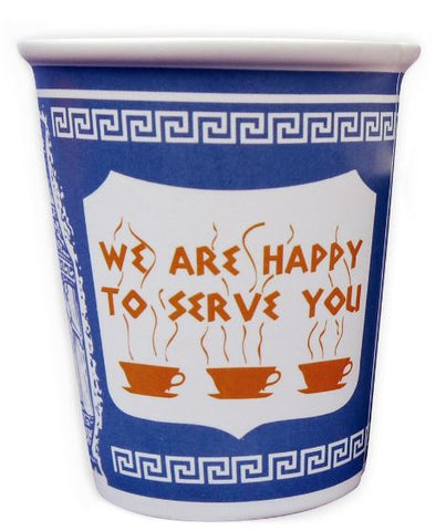 "10 Oz Ceramic mug decorated in blue and white with the traditional Greek Deli cup design, A large panel in the center says ""We are happy to serve you"" in a Greek-looking font above three steaming coffee cups."