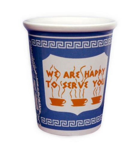 "This three ounce espresso cup is designed after iconic paper coffee cups often used at diners. It has a blue ceramic background with s Greek key motif at the rim and base of the cup. Design also includes a white shield with three coffee cups and saucers and saying ""We Are Happy To Serve You"". The cup does not have a handle. Coordinates with the larger ten ounce coffee cup of the same design."