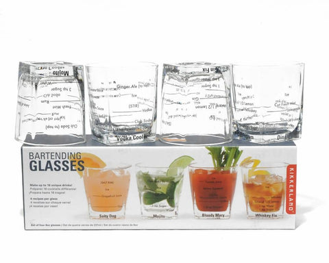 Each glass features a different spirit with bartending measurements in black for four different cocktails for each spirit; for a total of sixteen different drinks. Each glass holds eight ounces/two-hundred and seventy three milliliters.