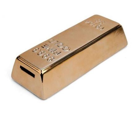 A gold bar coin bank with a slot on one end and raised text on top.