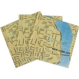 Paper cocktail napkins with a modern map of New York City. Food-safe water based inks are printed on fine grade wood-pulp paper. There is twenty each of one design that have dimensions of five inches square.