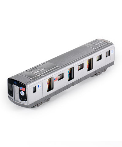 A silver plastic toy subway car with doors, windows and wheels.