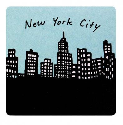 "A black and white silhouette of skyscrapers with a light blue background, with text reading ""New York City"" above."