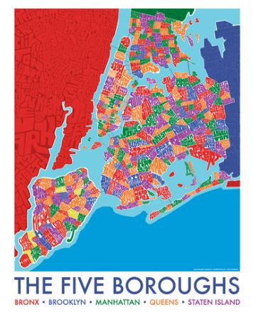 Five Boro Lithograph Map 22x28