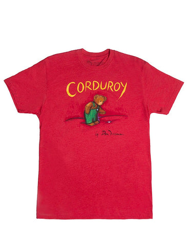 "Red unisex T-Shirt with ""Corduroy"" written at the top, above an image of Corduroy looking down at his missing button"