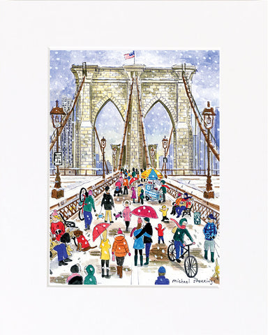 Winter on the Brooklyn Bridge Print