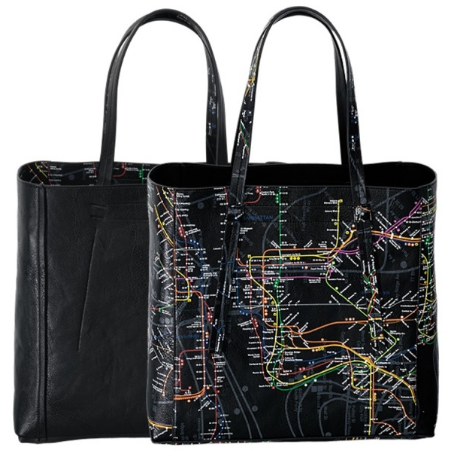 A black reversible tote bag featuring the NYC Subway map print with the dimensions of twelve and a half inches in height, fourteen inches in width and six inches in depth.
