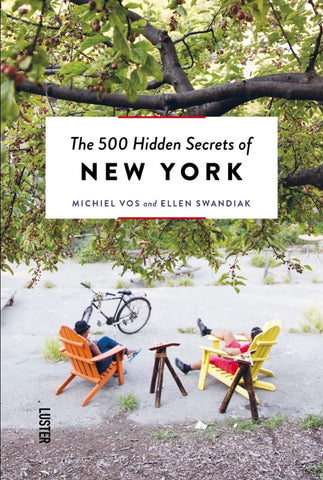 Cover of book titled 500 Hidden Secrets of New York, cover is a photo of 2 individuals sitting outside
