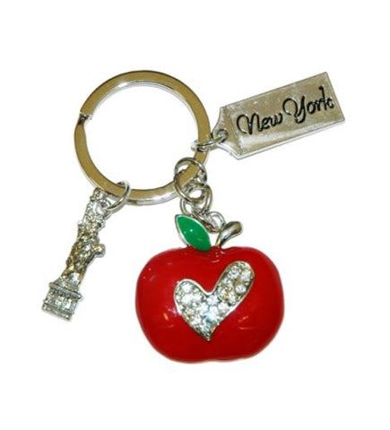 A keychain with a red apple charm decorated with a CZ heart.