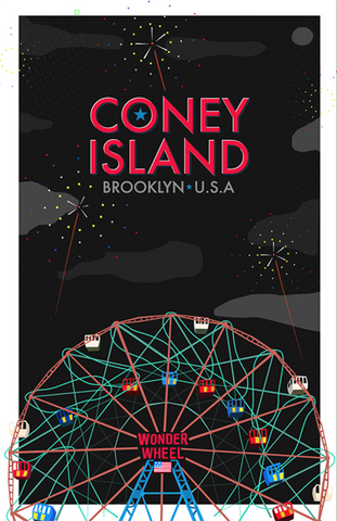 Coney Island Night Scene 11X17