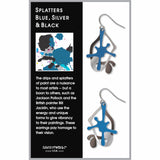 Paint Splatters Earrings, Blue/Silver/Black
