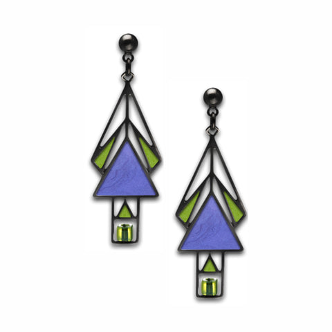 Mahony Window Blue Earrings