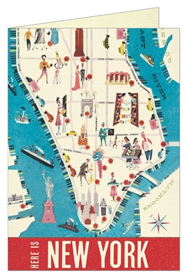 Notecard: Here is NY Vintage Map (Blank Inside)