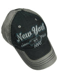 NY Black Applique Cap