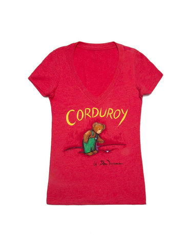 A red women's V-Neck T-shirt with Corduroy written at the top, above an image of Corduroy looking down at his missing button.