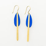 Cobalt And Brass Drop Earring