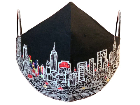 NYC Embroidered Face Mask Black
