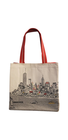 Embroidered NYC Tote Cream
