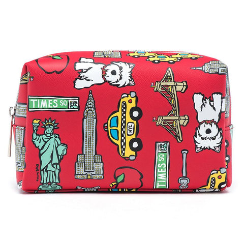Marc Tetro Red NYC Pattern Cosmetic Case