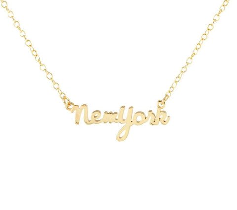 New York Script Charm Necklace Gold