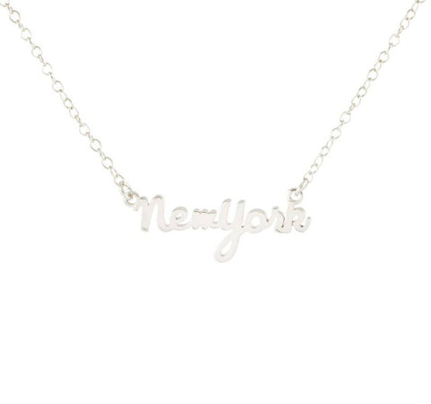 New York Script Charm Necklace Silver