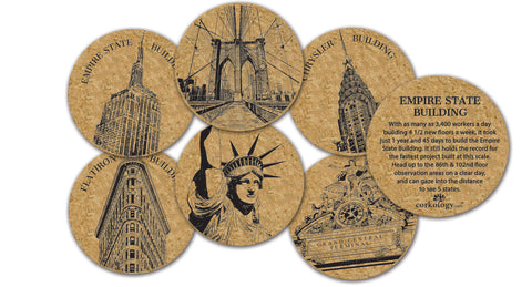 A set of six cork coasters with six different drawings of New York City icons, with fun-facts on the back of each. Included are: Flatiron, Statue of Liberty, Empire State, Brooklyn Bridge, Chrysler Building, and Grand Central Terminal.
