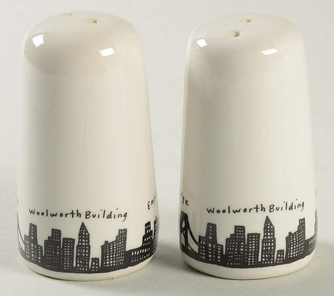 White ceramic Salt and pepper shakers with famous New York landmarks in a black and white silhouette