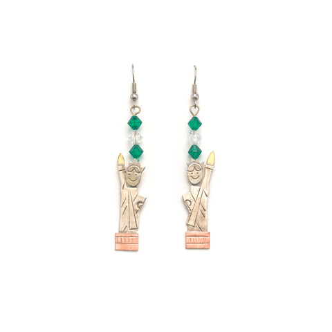 Silver Bead Statue Of Liberty Earrings