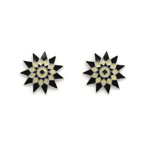 Sunburst Disc Star Stud Earrings