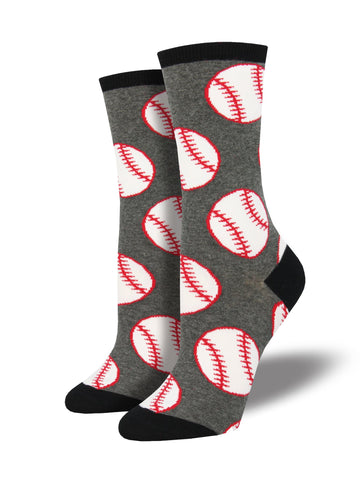 A pair of gray socks with a large baseball pattern and black toes, heels, and top.