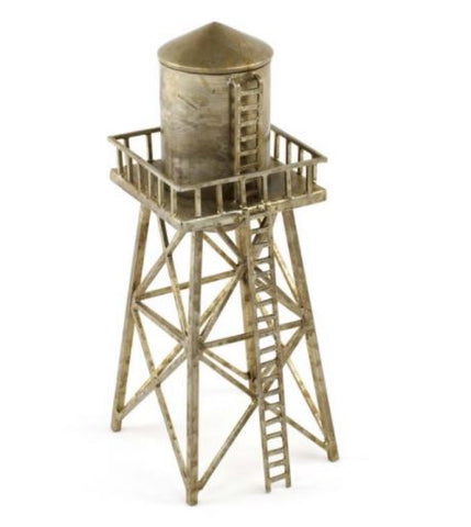 A hand-welded natural steel water tower, with a gold tone and natural distressed metal elements.