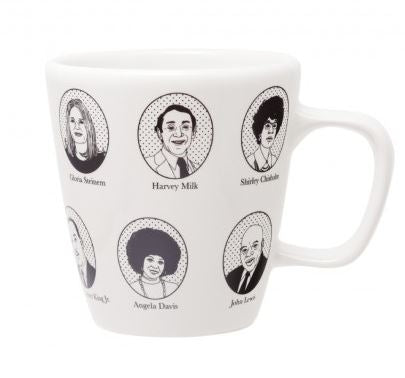 A white mug with a handle decorated with black stamped portraits of famous activists and their names around the entire body of the mug