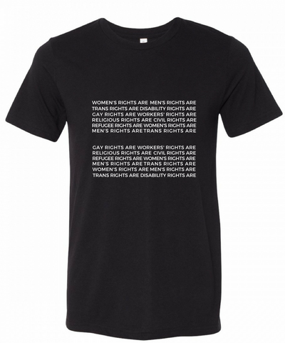 A black T-shirt with words formed into an equal sign.
