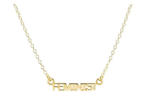 Feminist Word Necklace: Gold