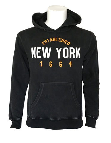 "A black hoodie with a large front pocket with large front pocket with large white text ""New York"" and gold text above and below ""Established"" and ""1664""."