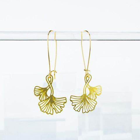 Gold Ginkgo Leaves Twist Ear