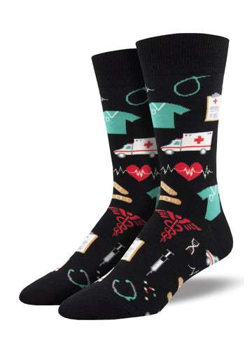 Sock: Healthcare Heroes Men's Black
