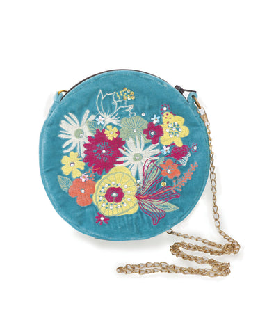 Modern Floral Velvet Embroidered Bag