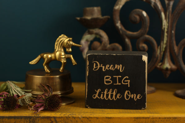 "Nursery decor block with the quote ""Dream BIG little one"""