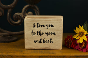 Small Wooden Sign - To the moon