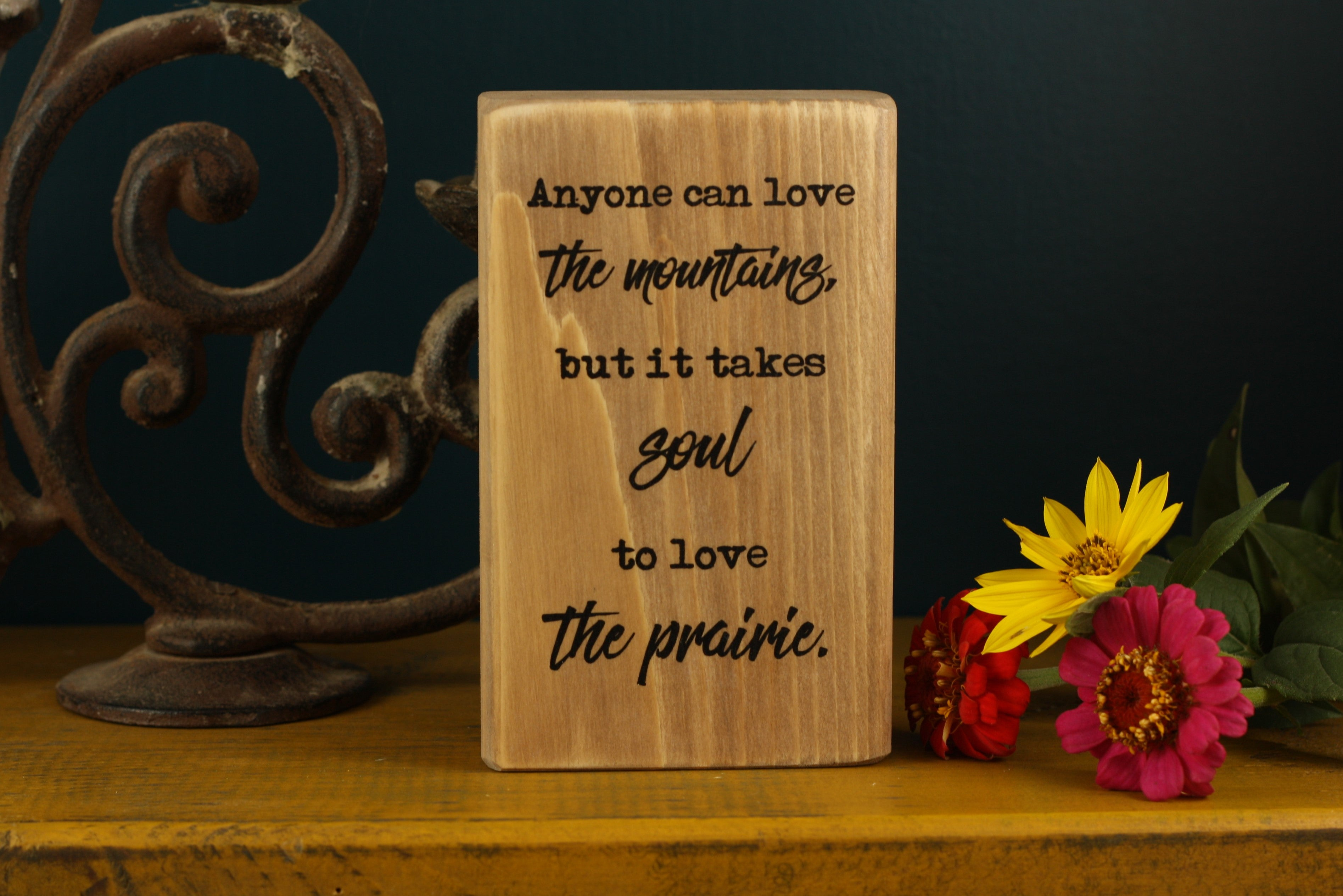 Small Wooden Sign - Love the prairie