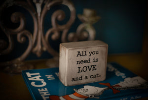 Small Wooden Sign - Love & Cats