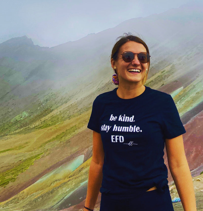 be kind. stay humble. EFD ladies' t-shirt (other colors avail.)