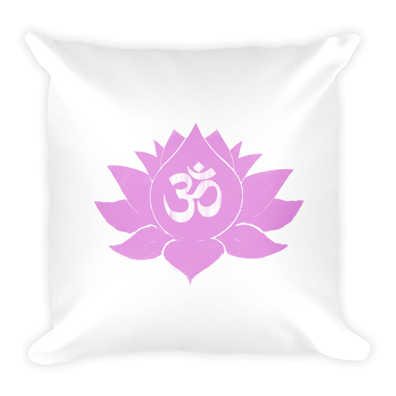 Pink Lotus Flower with Ohm Symbol on White Square Pillow