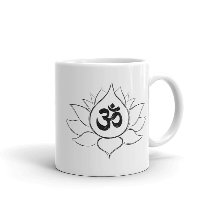 Lotus Flower and Ohm Symbol Mug made in the USA