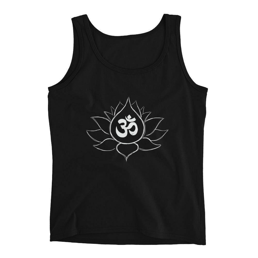 Lotus Flower Sketch with Ohm Design Ladies' Tank