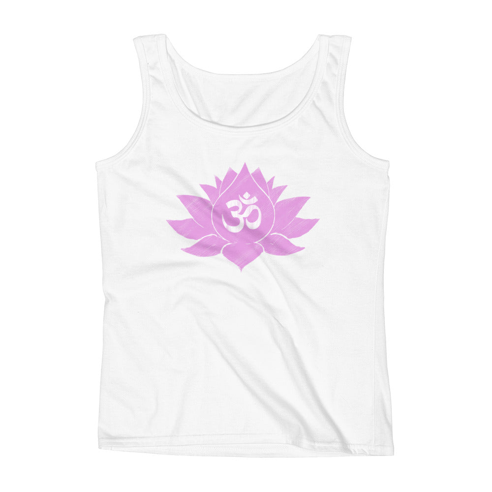 Pink Lotus Flower and Ohm Symbol Design Ladies' Tank Top