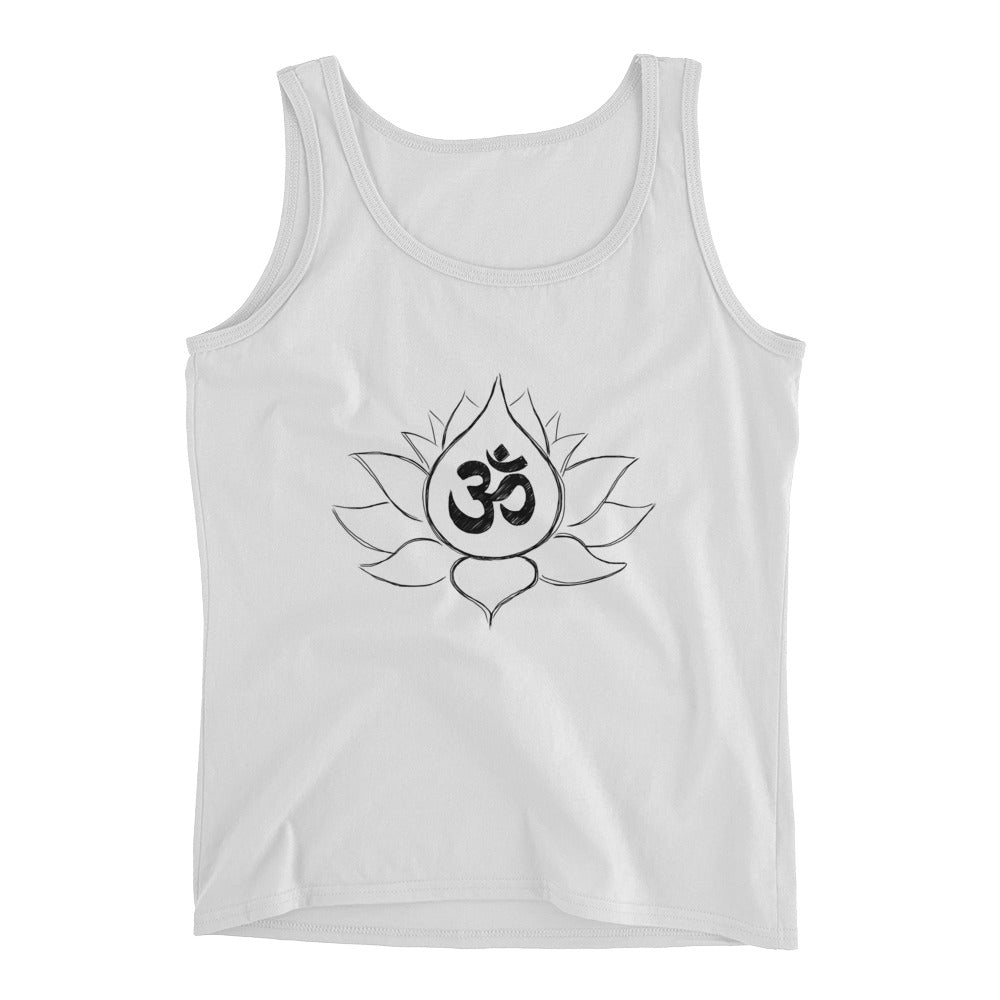 Lotus Flower Sketch with Ohm DesignLadies' Tank